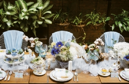 Powder Blue for Romantic Table Setting Decoration