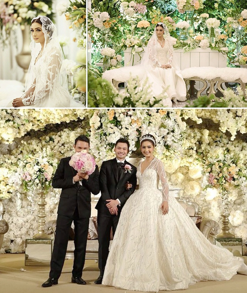 Magnificent White Flowery Wedding Of Nabila And Reshwara Weddingku Com