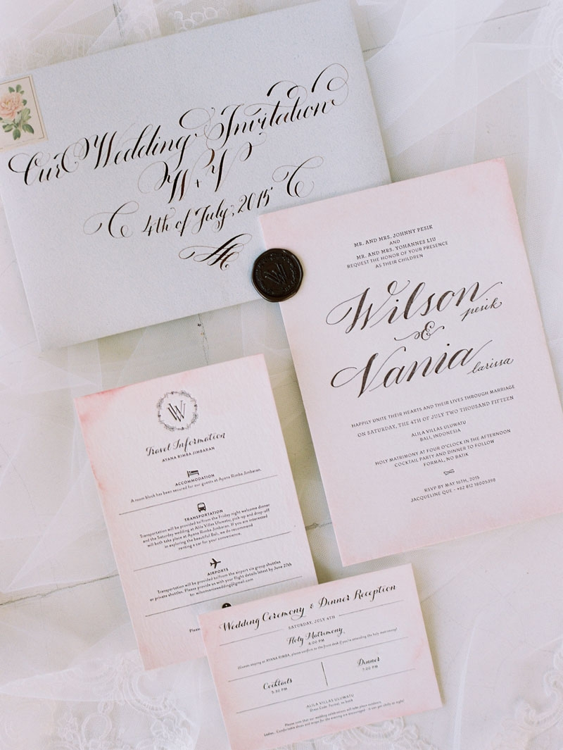 Romantic rustic wedding party of wilson pesik and vania larissa pink wedding invitation stopboris Image collections