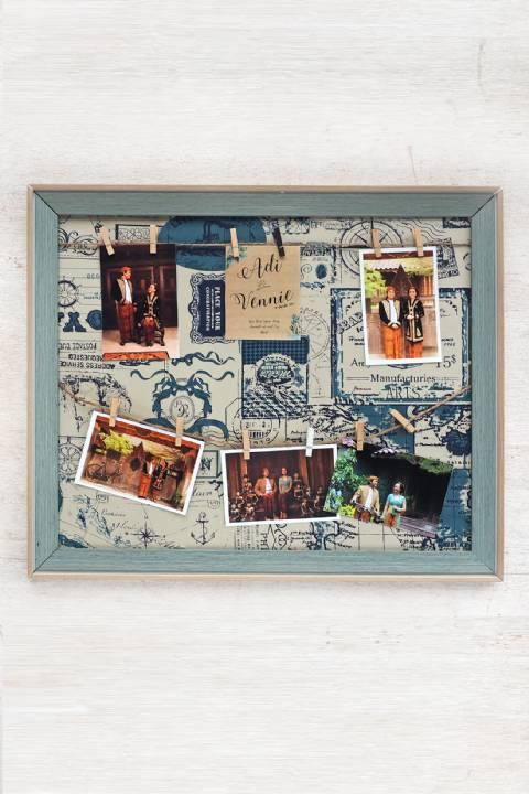 Vintage Blue Collage Frame 50 cm x 60 cm