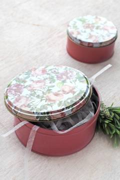 Pink Floral Tin Can L