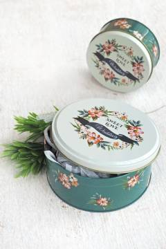Green Floral Tin Can L