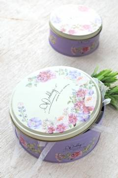 Purple Floral Tin Can L