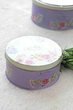Purple Floral Tin Can S