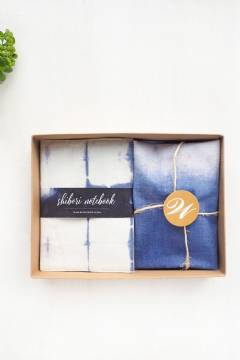 Weddingku Shibori Notes & Drawstring Pouch