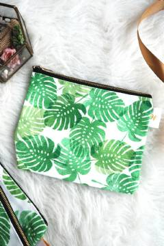 Weddingku Printed Zipper Canvas Pouch - Leaves